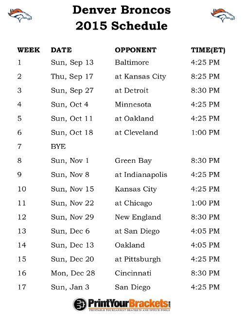 Printable Denver Broncos Schedule - 2015 Football Season