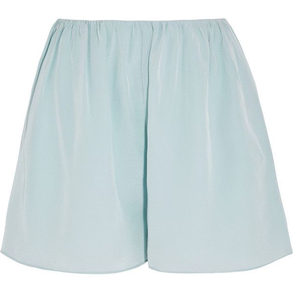 Elizabeth and James Jackie silk-chiffon shorts found on Polyvore featuring shorts, bottoms, short, light blue, elizabeth and james shorts, elizabeth and james, short shorts and light blue shorts