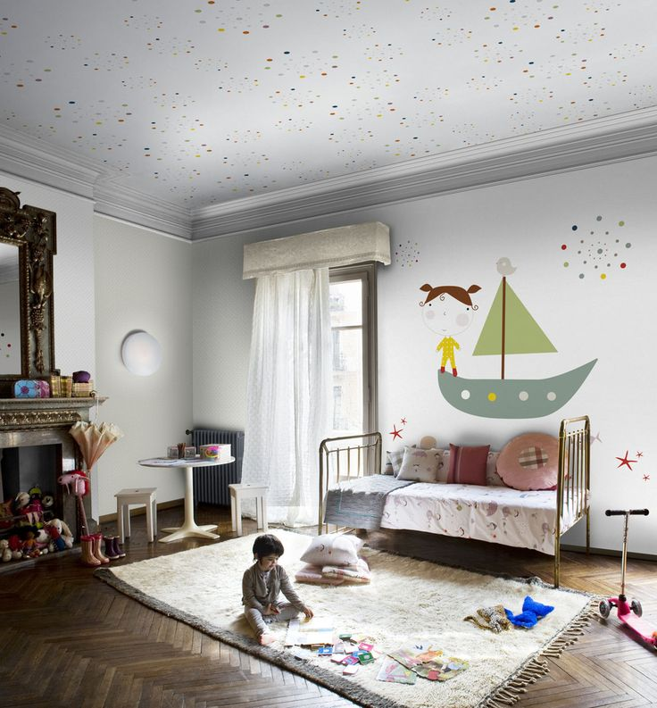 child's room.  herringbone floors and polka dots  on the ceiling.