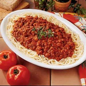 Savory Spaghetti Sauce - I made this and my family loved it!  We don't like really sweet sauces, so this one was perfect.  I did double the recipe, and added extra seasonings as one of the reviews recommended.  I also added some italian sausage chunks that I had cut up and cooked in the skillet first.