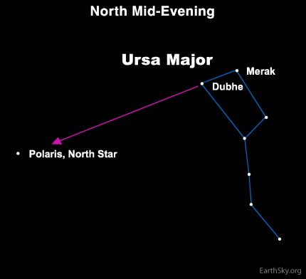 The two outermost stars in the bowl of the Big Dipper always point to the North Star, aka Polaris. That's why astronomers call these stars The Pointers.