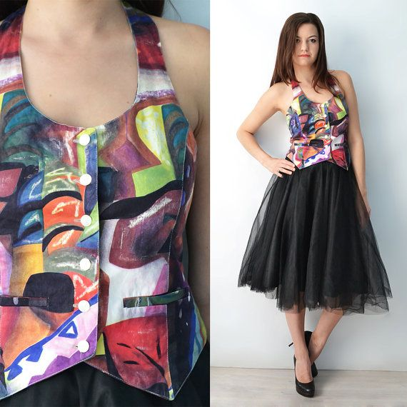 Colorful Vest, Boho Printed Top, Vintage Woman's Clothing, Casual Buttoned Hippie Top, Size S/36 Gift idea for her, Six Vintage Chicks