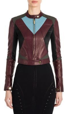 Versace Jersey-Inset Leather Cropped Jacket