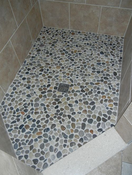 This Is Literally River Rocks From The Dollar Store On This Woman S Shower Floor Looks