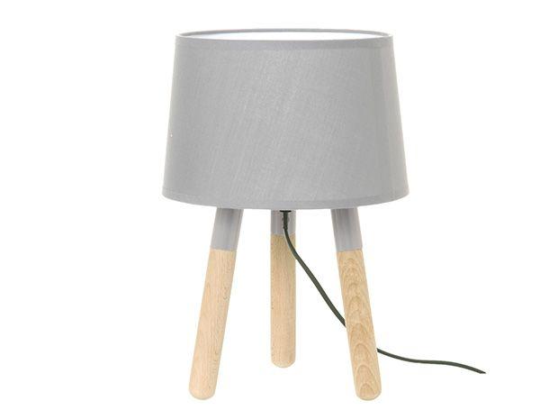 Lampka na biurko, stołowa jasno szara na drewnianych nóżkach