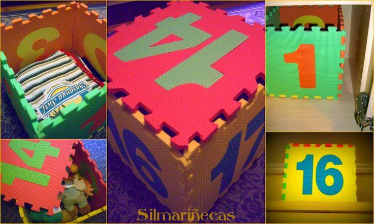Diy: Cómo hacer una caja de almacenaje de una alfombra de puzzle de goma eva.