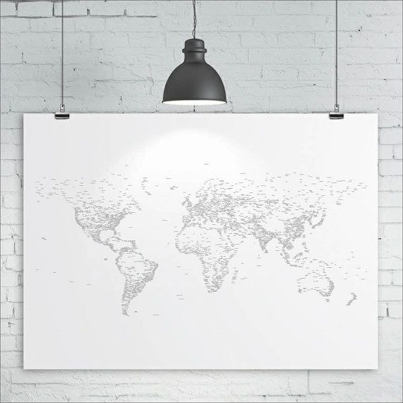 World Map Print - Typography / Words / Text - Map of the World, Map Art Print, A1 size (33in x 24in approx.)