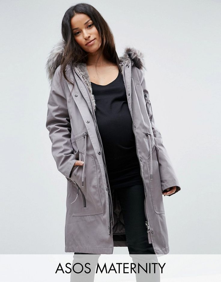 ASOS MATERNITY Parka with Detachable Faux Fur Liner - Gray