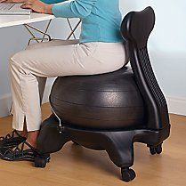 Great idea if you HAVE TO sitStability Ball, Desks Chairs, Exercies Workout, Fit Exercise, Ball Chairs, Fit Exercies, Exercise Workout, Ball Desks, Stuffed Peppers