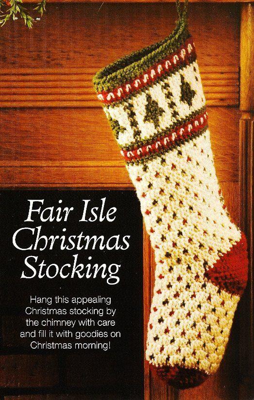 X961 Crochet Pattern Onl Fair Isle Christmas Stocking