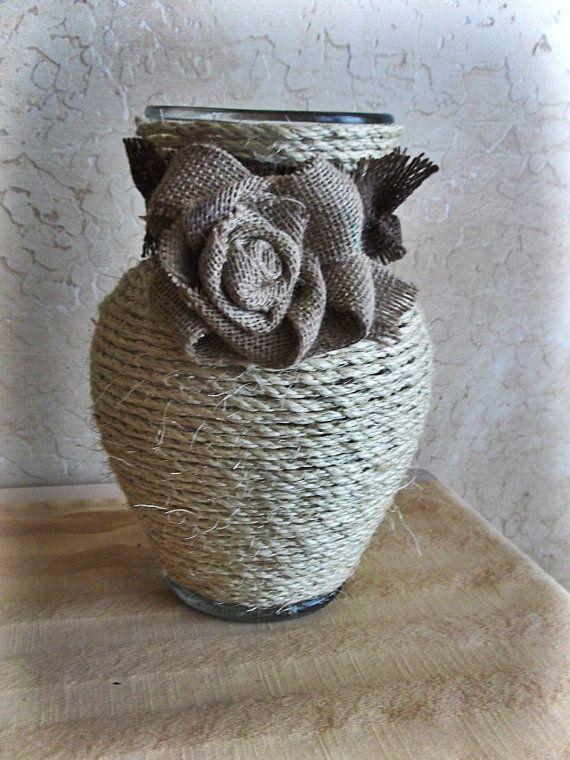 Rope and Burlap Vase by felicitysfancythings on Etsy, $23.00