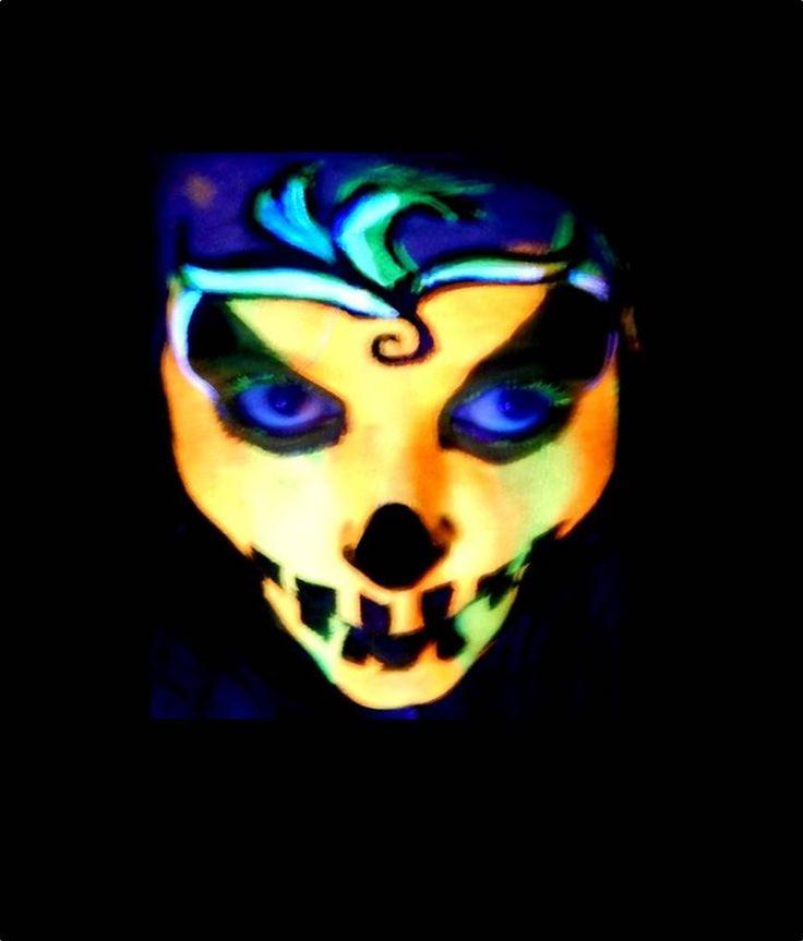 neon black light pumpkin halloween face painting tutorial by - Halloween Feis