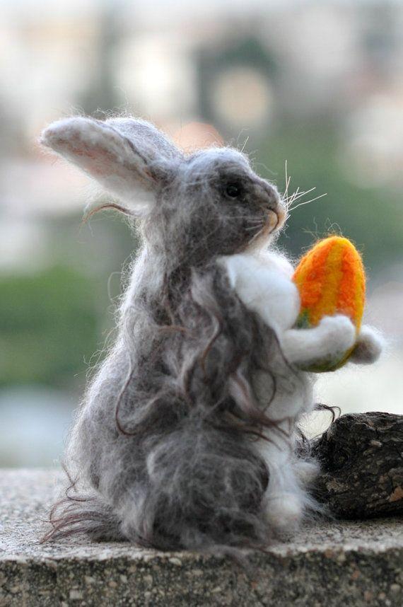 Needle felted Angora Rabbit 3 Basket bunnyOOK