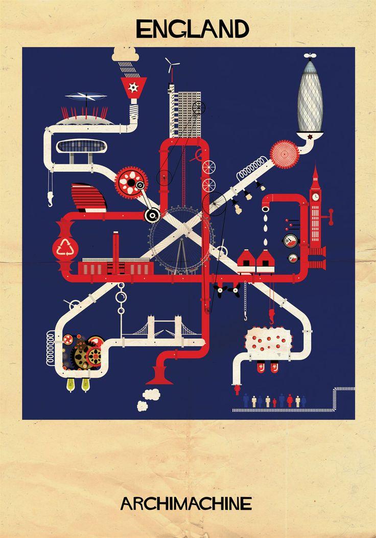 """Galería - ARCHIMACHINE 17 países ilustrados como """"máquinas de arquitectura"""" - 31"""