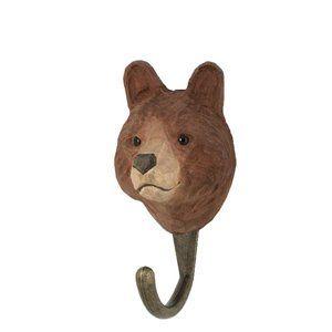 DecoHook Brown Bear  handcarved clothes hanger from Wildlife Garden - see all at: wildlifegarden.info