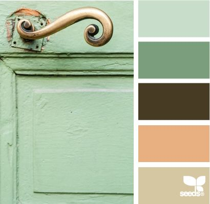Mint green paint with the brown and cream tile in bathroom?