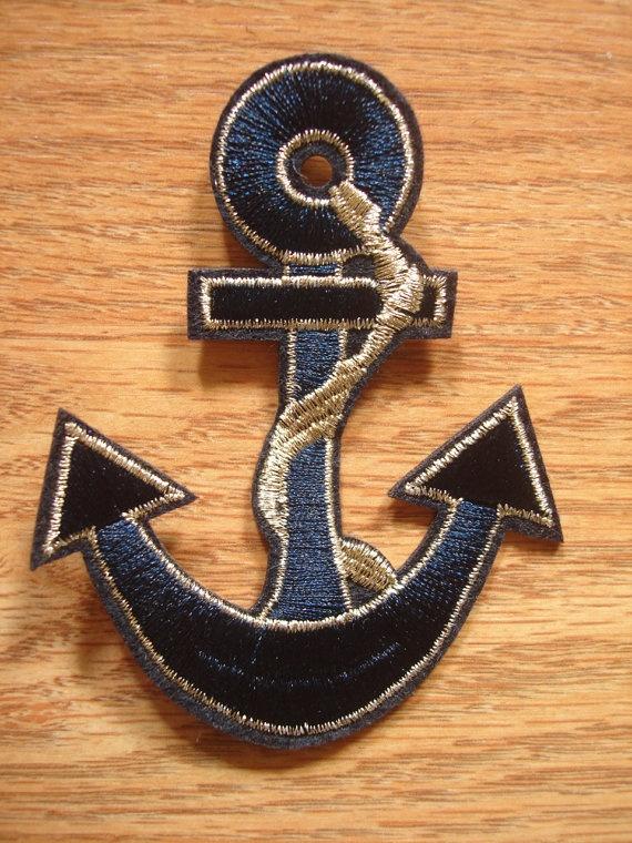2 Sailor Captain Navy Blue Anchor Sea Ocean Blue Golden Big Iron On patch, Applique, Sewing patch via Etsy
