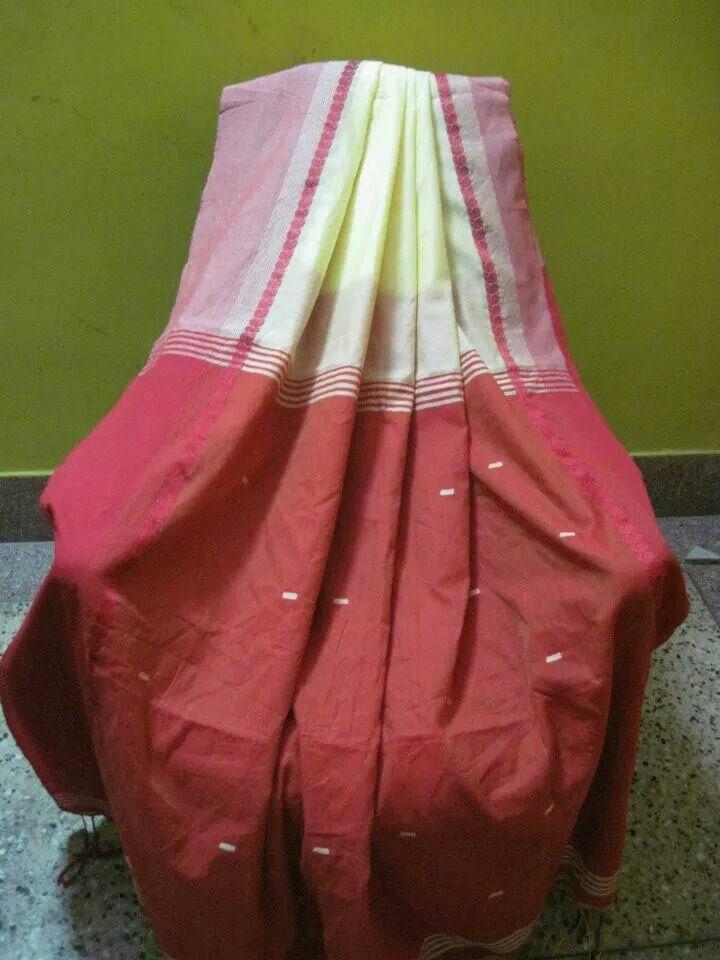 Off white khadi cotton with red kalka border