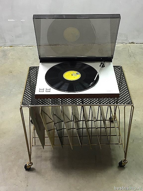 Mategot mid century modern design LP trolley bar cart, vintage platen trolley Mategot |