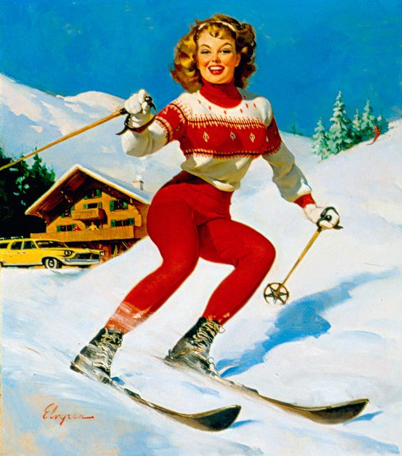 "Vintage ski bunny supreme! Pinner says: ""Reminds me of an old family photo that was printed in the newspaper in NV."""