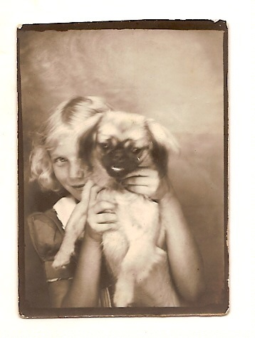 ** Vintage Photo Booth Picture **   Oh my heck.  How adorable is this?!  Young girl squeezing the stuffings out of her Pup to get him to pose with her.  This is why I love photo booth images - they're quirky and unexpected  and so real.