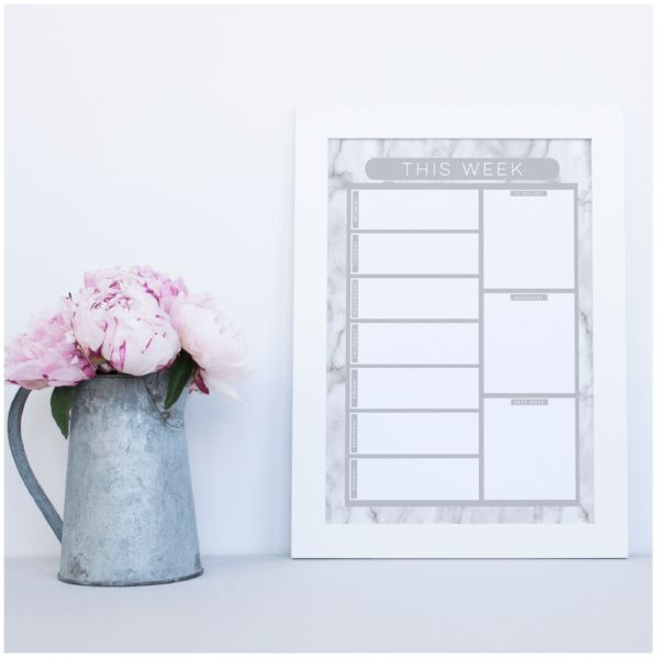 Get organised with a reusable Weekly Planner with to do list, message and next week sections.  Marble Design. Dry erase, write on the glass with liquid chalk. Also had matching meal planner, calendar, notice boards available www.atpcreativedesign.com