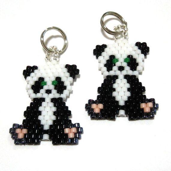 Seed Bead Panda Charm by Bead Crumbs