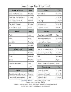 freezer storage times guidelines