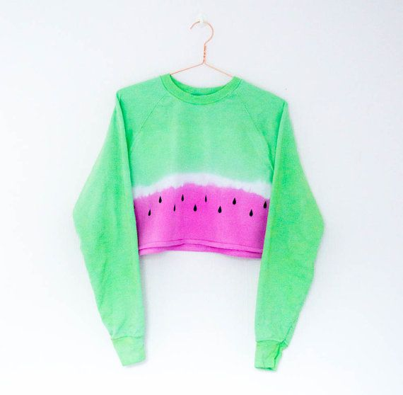 Tie Dye Sweater Watermelon Crop Top Festival Rave Edm Hipster Tumblr 90s Grunge Blogger Summer Pastel  Hippie Boho Jumper S/M/L/XL