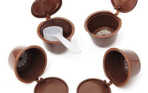 KING DO WAY 4 en 1 Réutilisables Filtres Capsules De Café Expresso Avec Cuillère Pour Dolce Gusto Reusable Coffee Capsule Cup 53mmX30mm:…