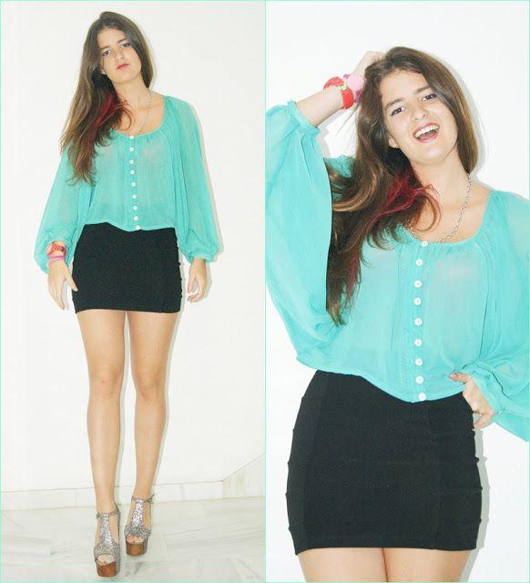 ac8a532c5 Un armario y varios estilos: Fiesta Abril. Falda negra y blusa verde ...