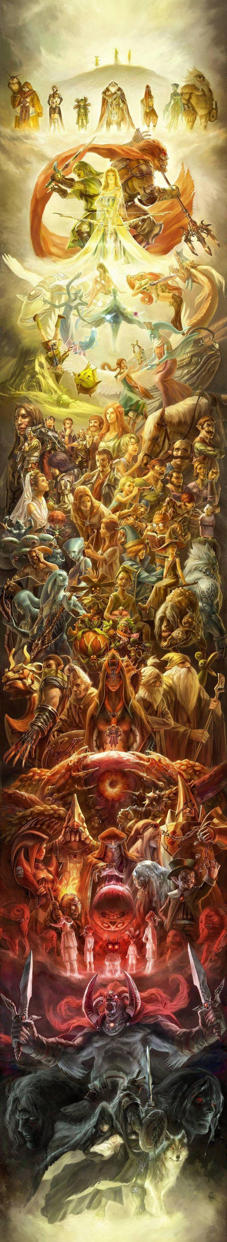 Fan art celebrating the 25th anniversary of the Legend of Zelda