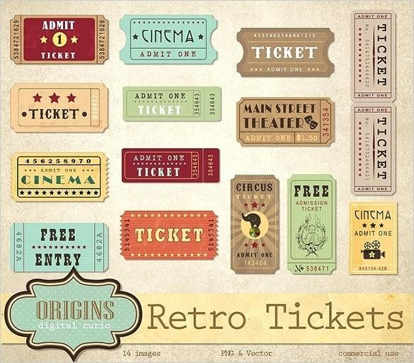 Retro Ticket Designs For Movie Event Old Fashioned Template Airline Free Templates Print Retro Bee