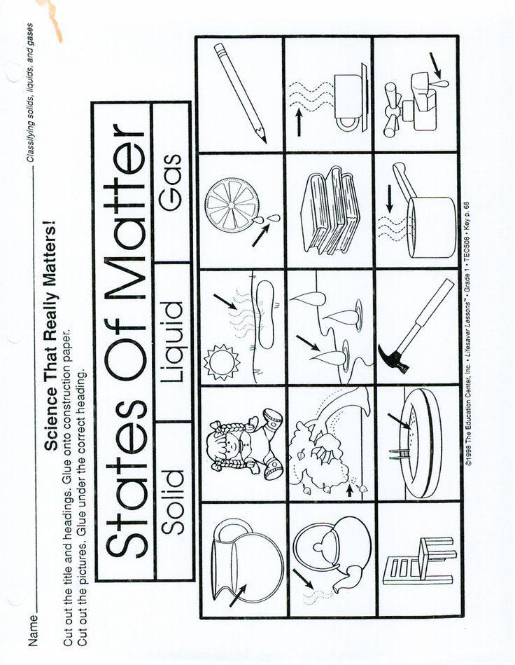 Page 1 - States of Matter worksheet (make a 3 part ...