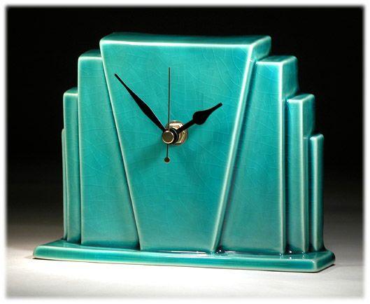 Mim- echo of deco Miami mantel clock
