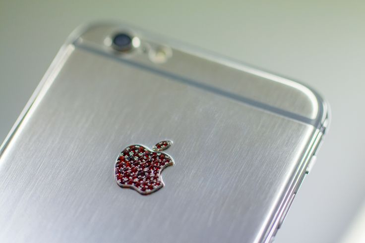 Apple with red Bohemian garnets setted by hand