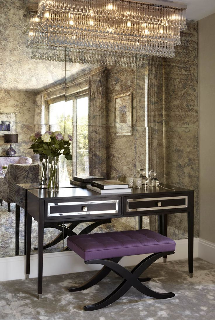 A feature wall in antique mirror glass/ Love the desk & the chandelier <3…