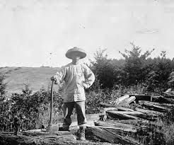 This is John Ming working chopping wood. This was the first job he had when he was working on the Central Pacific Railroad.