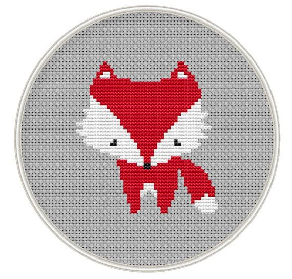 Red fox Cross stitch pattern, Counted cross stitch pattern, Instant Download, Free shipping, cross stitch fox, Cross-Stitch PDF, MCS105