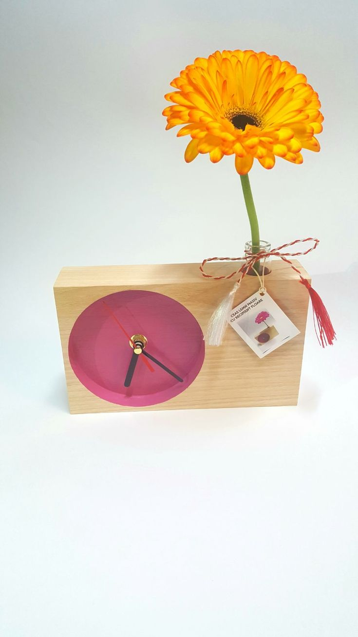 Solid wood clock - flower container