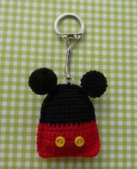 Free Mickey Mouse keyring or coaster pattern (click on link under picture to download pdf file)