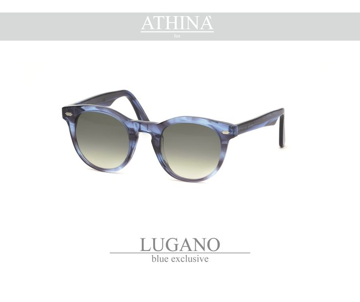 Mod. LUG0606G01 Called as the native city of Athinà Lux, Lugano is made with light blue exclusive acetate of cellulose and  gradient green lenses.