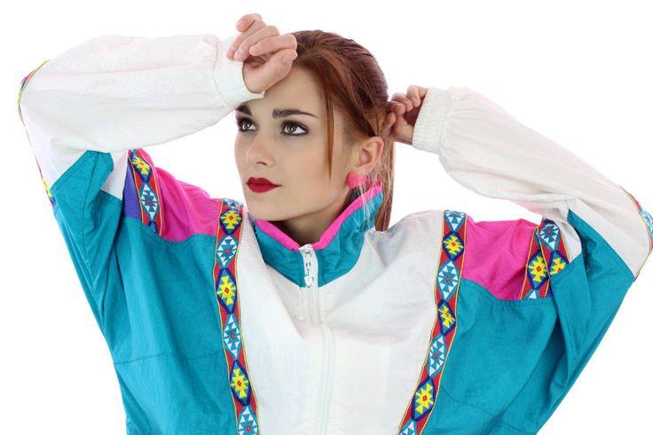 Vintage 90s Windbreaker Jacket 80s Chevron Southwest Trim 1990s Colorblock 1980s Aztec Blue Purple Pink White Unisex Mens Womens Large L by neonthreadsdesigns on Etsy