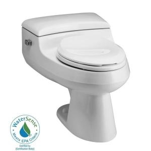 San Raphael 1-Piece High-Efficiency Elongated Toilet in White-K-3597-0 at The Home Depot