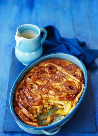Toffee apple brioche and butter pudding