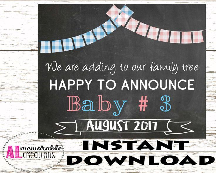 Pregnancy Announcement Photo Prop/Third Baby Announcement/Expecting Third Baby Sign/Dated August 2017/Pregnancy Chalkboard/Digital File by ALMemorableCreations on Etsy