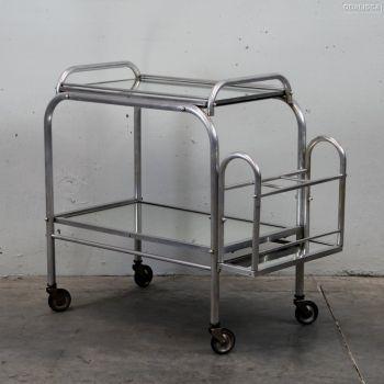 MESA CAMARERA ART DÉCO. - Aluminio y espejo. Francia.