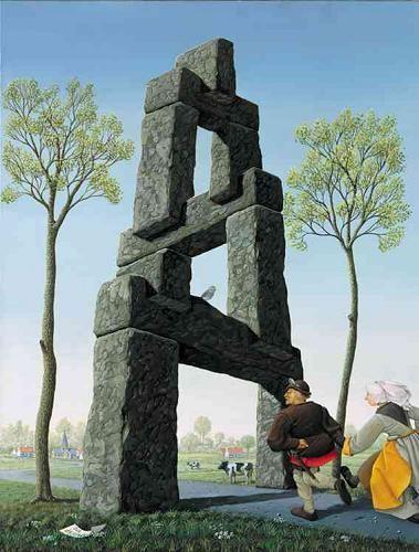 Onmogelijk beeld geschilderd door Jos de Mey.: