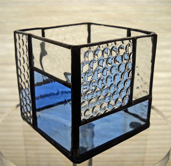 Small stained glass candle holder blue/clear by CateStudioGallery