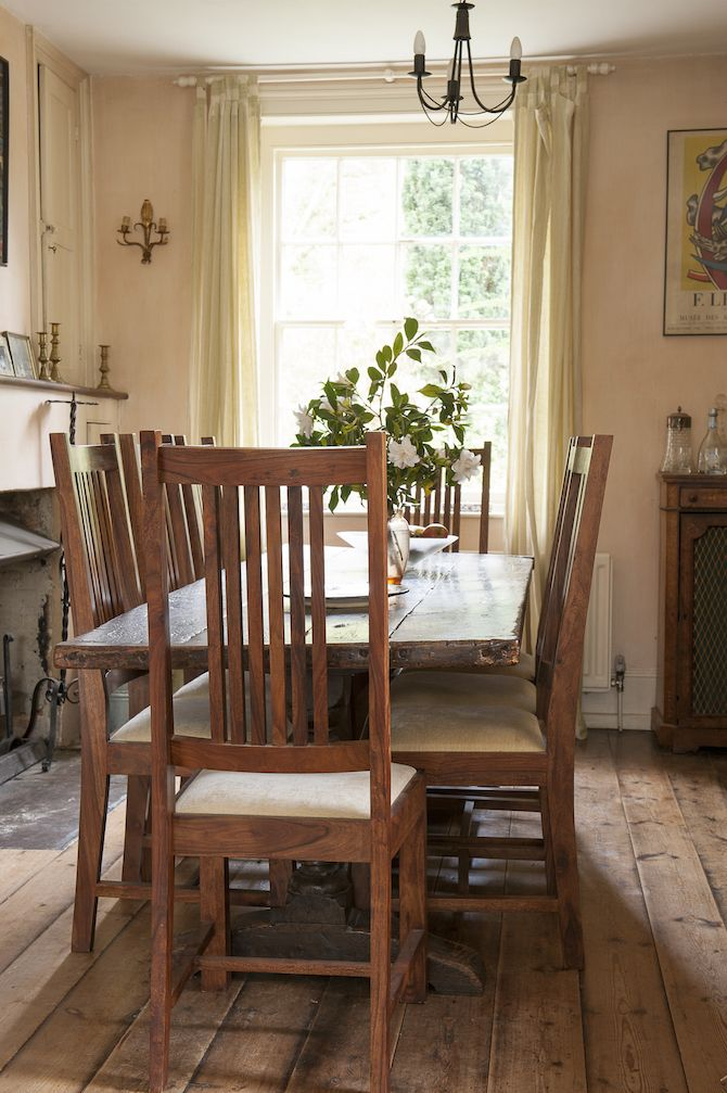 The Dining Room Has Been Kept Simple With Wooden Furniture And Small Pieces Of Art Farmhouse InteriorCountry FarmhouseEnglish